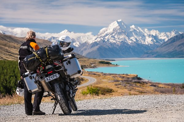Motorbike with Aoraki Mount Cook in the background