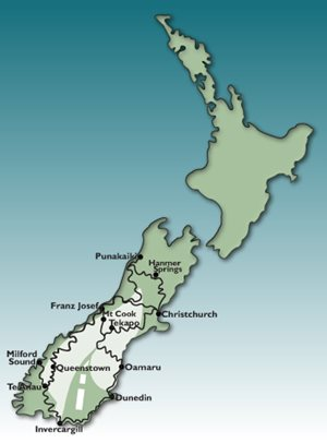 12 Day South Island GPS Tour Motorbike Tour Map