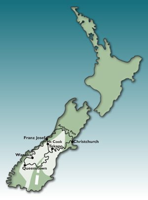 5 day Southern Alps  GPS Tour Motorbike Tour Map